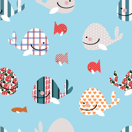 seamless pattern of silhouettes from cute whales.