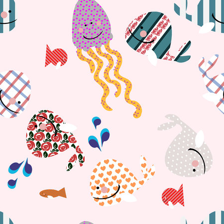 seamless pattern of silhouettes from cute whales on pink background