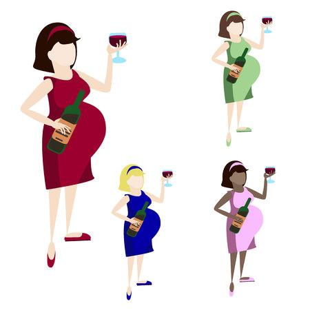 Pregnant woman drink wine. Alcoholism. Addicted behavior Illustration