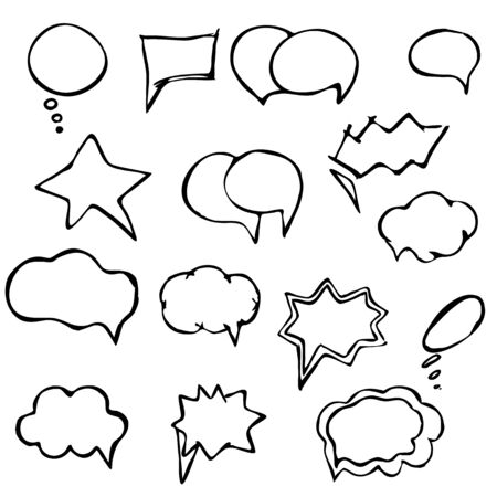 Collection of hand drawn speech balloons (bubbles) Ilustração
