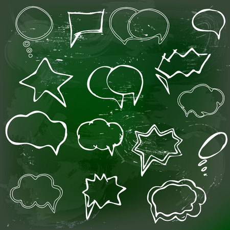 Collection of hand drawn speech balloons on green blackboard