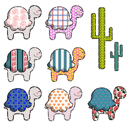 Set of funny childish silhouettes from turtles decorated with various patterns Illustration