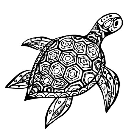 herpetology: hand-drawn black and white sea turtle