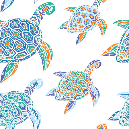 seamless pattern of blue turtles