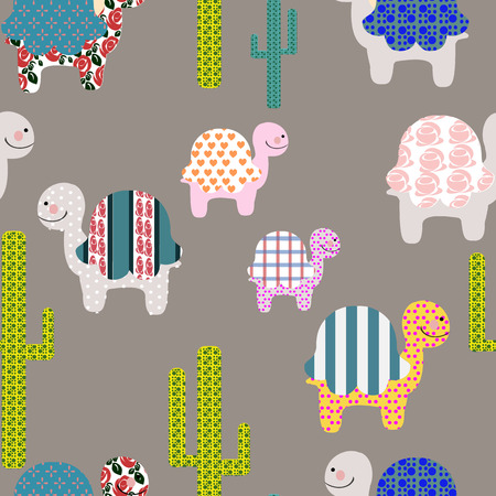 herpetology: seamless pattern of silhouettes from cute turtels