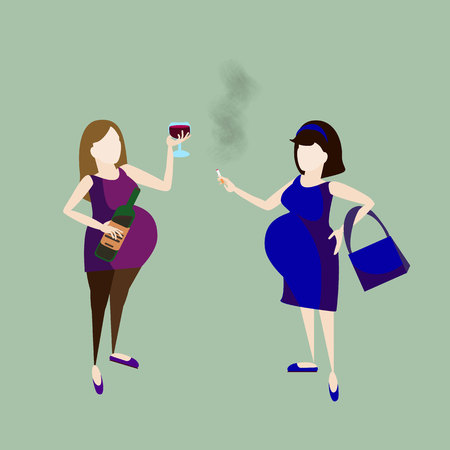 intoxicate: pregnant woman drink alcohol and talk with smoking lady. alcoholism. addicted behavior Illustration