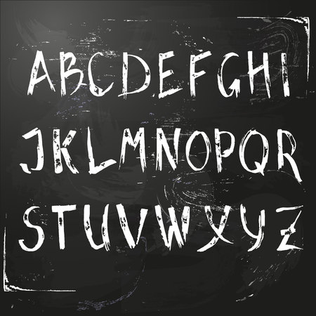 Vector hand written english Alphabet. ABC on a school blackboard