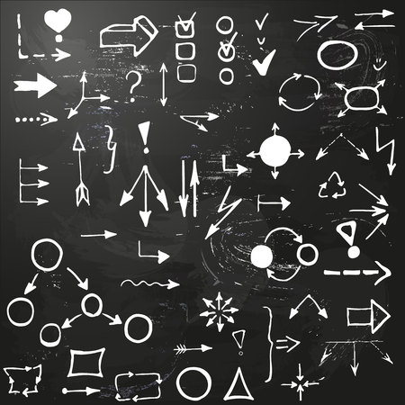 set of hand drawing business diagram (network). Collection of different arrows, polyhedrons, interrogation and exclamation mark on blackboard