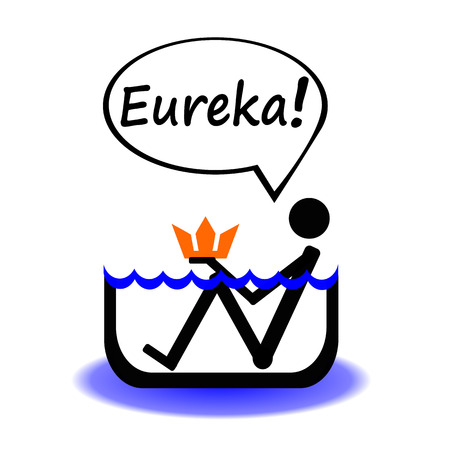 Archimedes' principle. Eurika! Principle is a law of physics Illustration