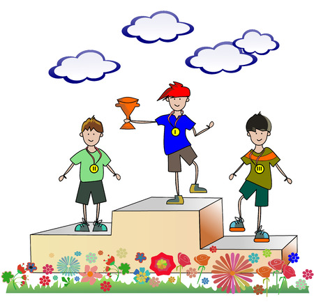 Vector of children standing on the winning podium holding up trophy. Three boys are on the pedestal with medals Ilustração