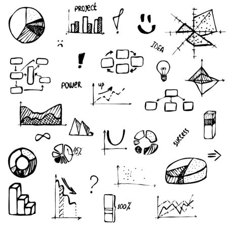 set of hand drawing business diagram (histogram, pie chart, graph of a function, scatter plot, network and block diagrams, radar chart) with words success, project, idea, power Illustration
