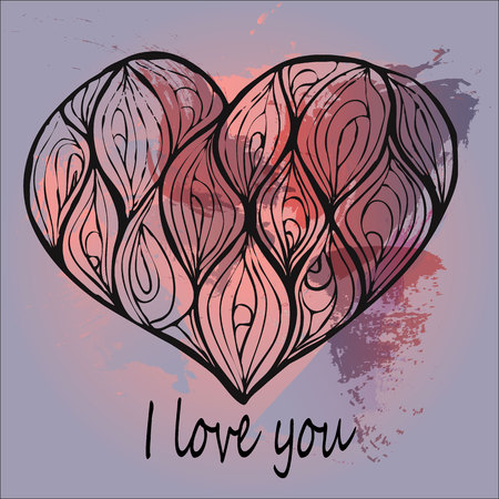 vector of hand drawing heart decorated with waves on a red and pink watercolor background. i love you card