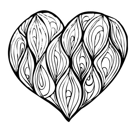 vector of hand drawing heart decorated with waves Ilustração