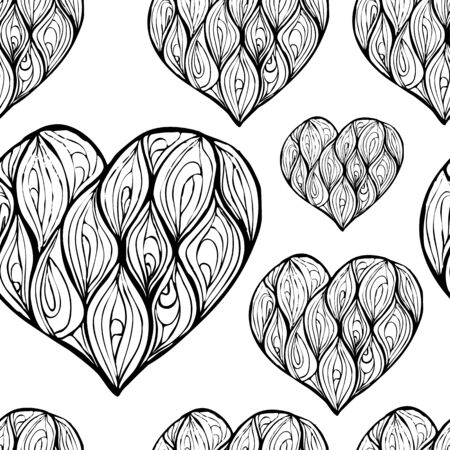 seamless pattern of hand drawing hearts decorated with waves