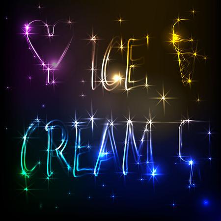 shine inscription ice cream on a dark blue starry background. Illustration