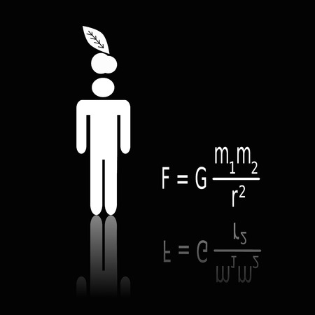 Silhouette of Isaac standing under an apple. Newton's law of universal gravitation