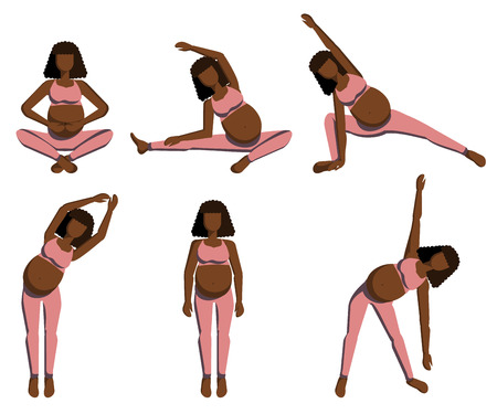 Set of a afro-american pregnant woman doing yoga
