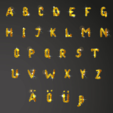 orthography: Vector illustration of german Alphabet. Collection of letters decorated with shining golden pine branches