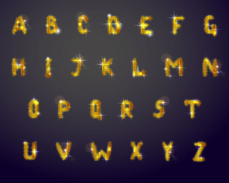 Vector illustration of english Alphabet. Collection of letters decorated with shining golden pine branches Ilustração