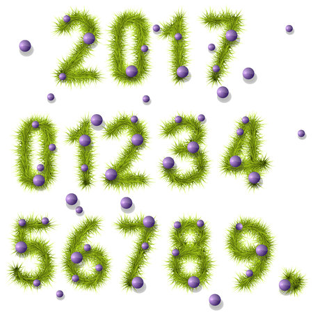 Collection of vector numbers decorated with pine branches and violet, purple balls