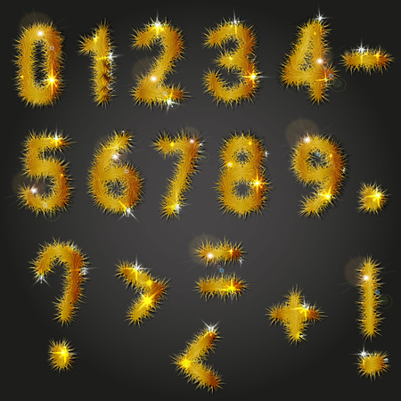 Collection of vector numbers and punctuation mark decorated with shining golden pine branches