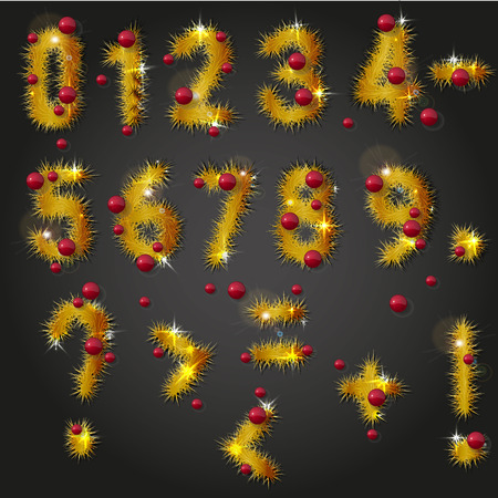 Collection of vector numbers and punctuation mark decorated with shining golden pine branches and red christmas balls