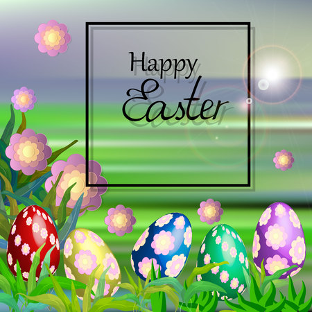 Easter background. Happy eater card. Easter poster 向量圖像