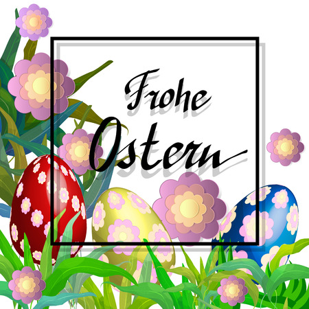 Easter Beautiful card with german title Happy Easter. Easter poster Illustration