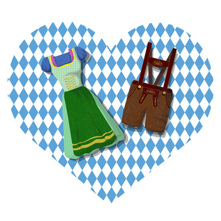 Traditional German (Bavarian) clothing> Dirdle and Lederhosen. October fest. Card Illustration