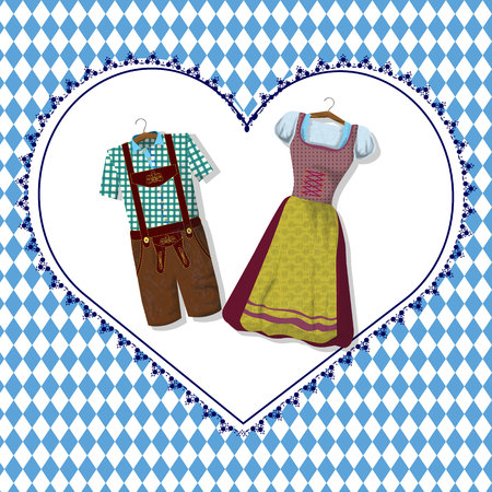 Traditional German (Bavarian) clothing Dirdle and Lederhosen. October fest. Greeting card from Munich