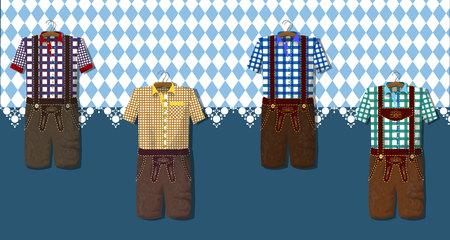 Traditional German (Bavarian) clothing: Lederhosen. Octoberfest. Greeting card from Munich. Collection of dresses