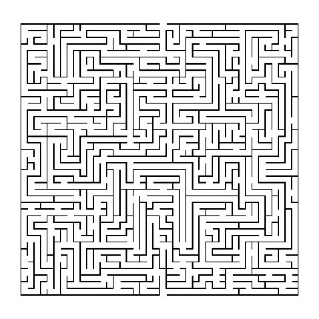 Complex maze puzzle game, 3 high level of difficulty. Black and white labyrinth business concept.