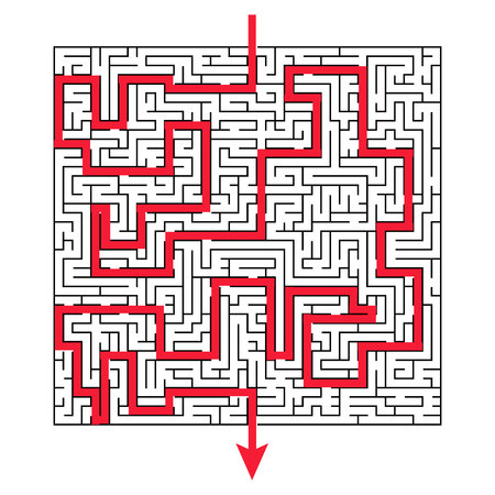 Complex maze puzzle game, 3 high level of difficulty with way exit or answer. Labyrinth as business concept, success.
