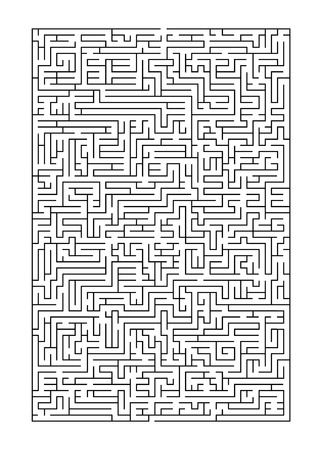 Complex maze puzzle game A 4 format (high level of difficulty). Black and white labyrinth business concept