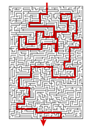 Complex maze puzzle game A 4 format (high level of difficulty) with way (exit or answer). Black and white labyrinth business concept
