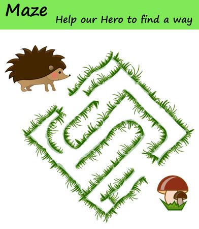 Easy maze puzzle game. Labyrinth for kids. Hedgehog and mushroom motive 向量圖像