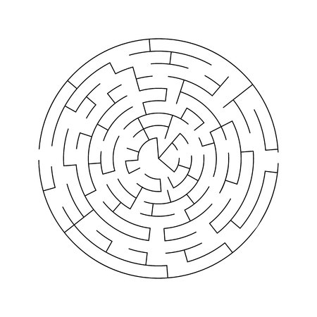 Complex maze puzzle game (high level of difficulty). Success. Black and white labyrinth business concept. Circle as labyrinth Ilustração