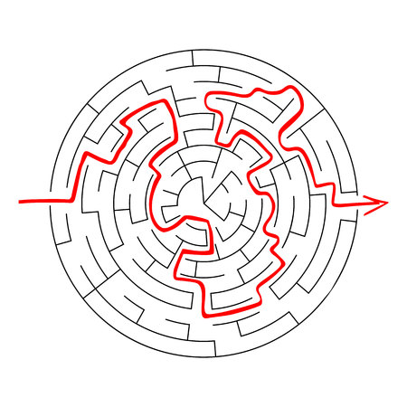 Complex maze puzzle game (high level of difficulty) with way (exit or answer). Black and white labyrinth business concept. Circle as labyrinth