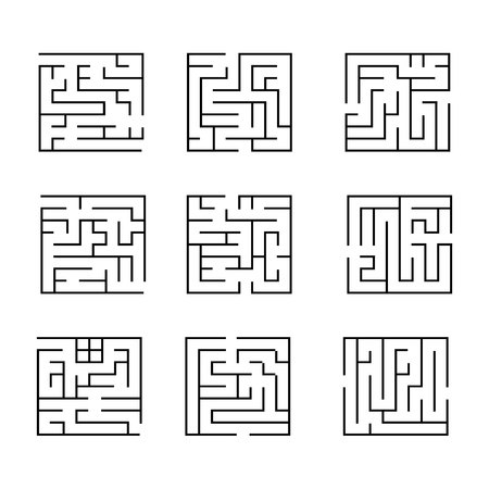 Collection ?2 of easy maze puzzle game. Black and white labyrinth business concept. Labyrinth for smart kids and children