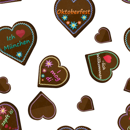 Traditional bavarian souvenir from Oktoberfest. Seamless pattern of gingerbread heart. Translation: I love Munich, I like you, good luck, welcome, It's tapped! Illustration