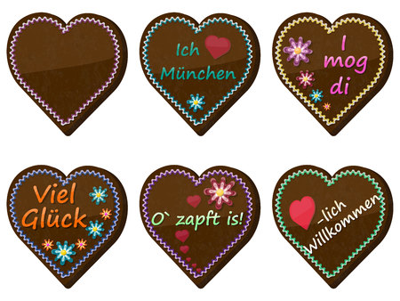 Traditional bavarian souvenir from Oktoberfest. Set of gingerbread heart. Translation: I love Munich, I like you, good luck, welcome, It's tapped! Illustration