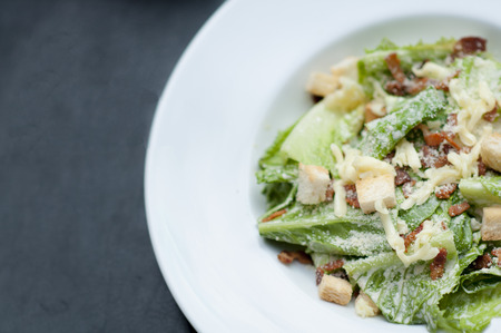 croutons: Authentic Ceasar Salad with parmesan and dressing