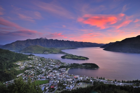 View of Queenstown, New Zealand at dusk from Skyline lookout