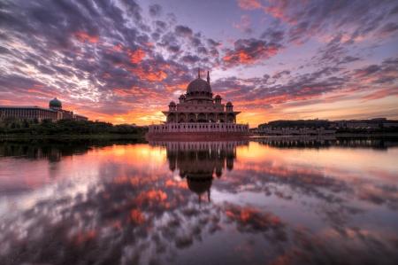 Sunrise at Putra Mosque, Malaysia Stock Photo