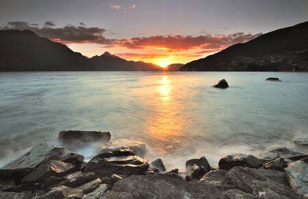 Sunset at Lake Wakatipu, Queenstown, New Zealand Stock Photo