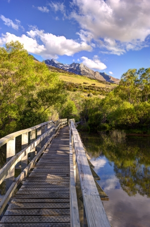 The view of the mountains from boardwalk at Glenorchy Lagoon Walkway, Glenorchy, New Zealand