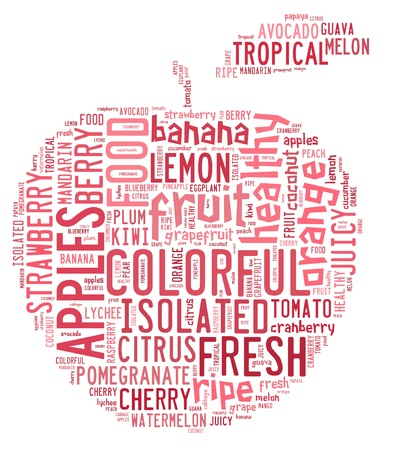 Words cloud illustration for fruits concept Stock Photo