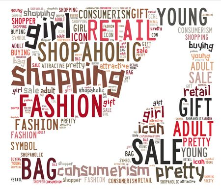 Words cloud illustration for conceptual of shopping