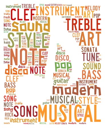 Words cloud illustration for music concept Stock Photo