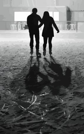 girls having fun: Couple skating on ice rink during winter